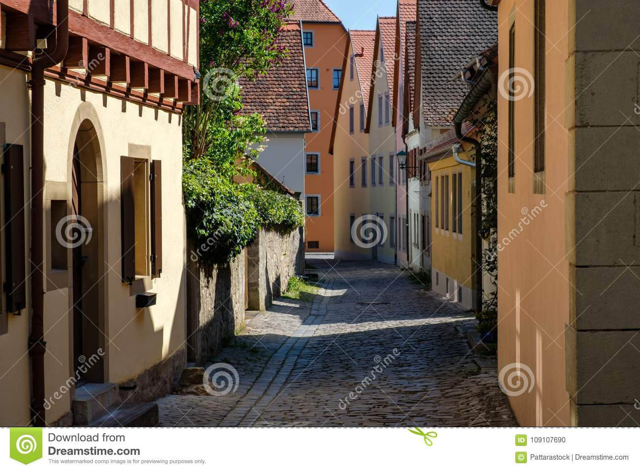 Colorful building in old street of Rothenburg ob der Tauber, Bavaria, Germany.
