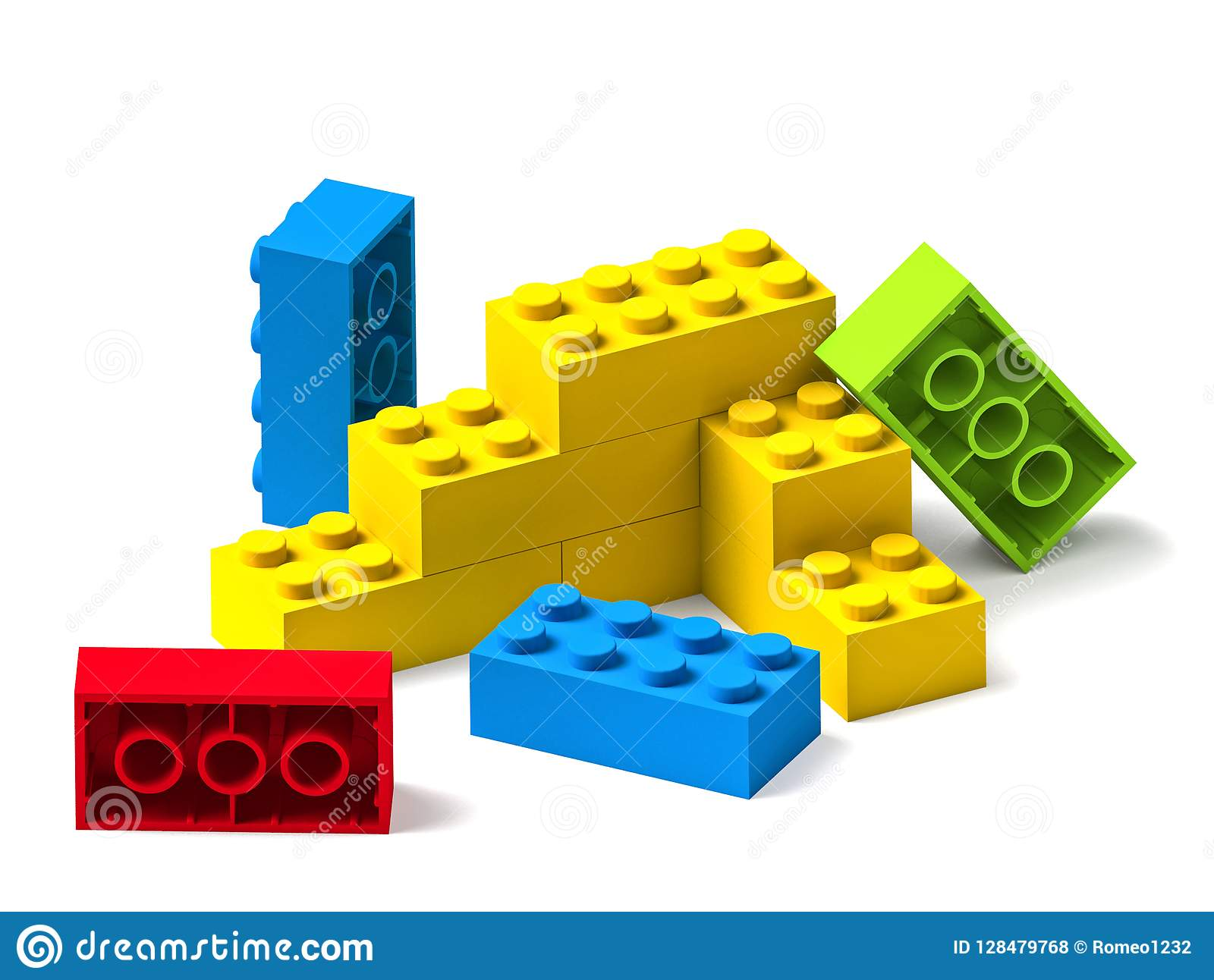 Colorful building toy blocks 3D on white