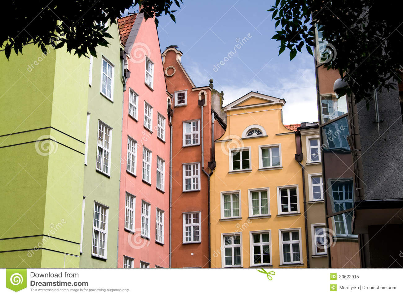 Colorful Buildings In Gdansk Poland Stock Image