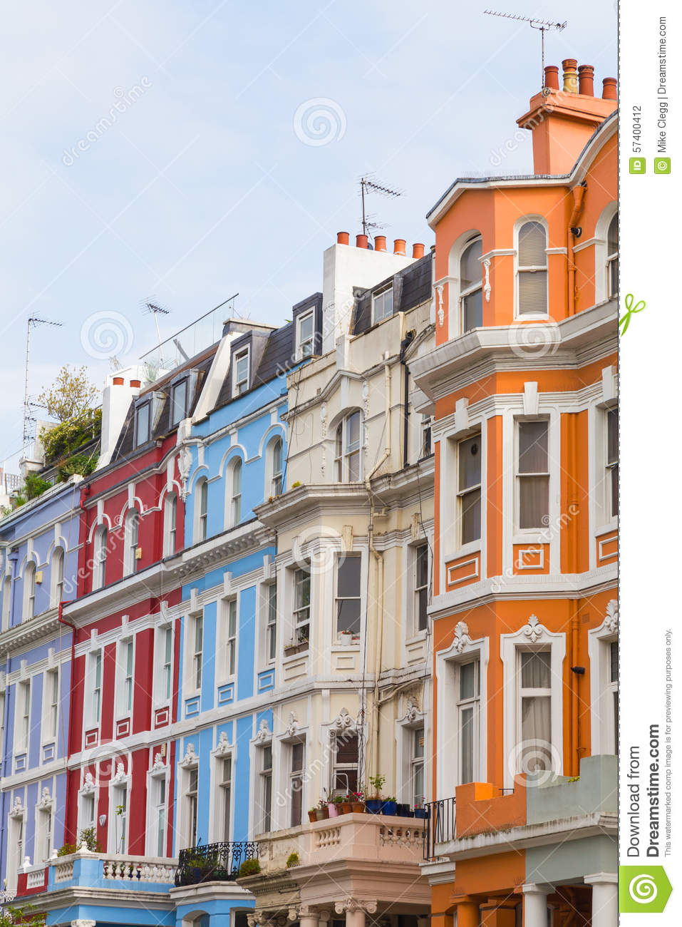 Notting Hill London: Colorful Buildings In Notting Hill London Editorial