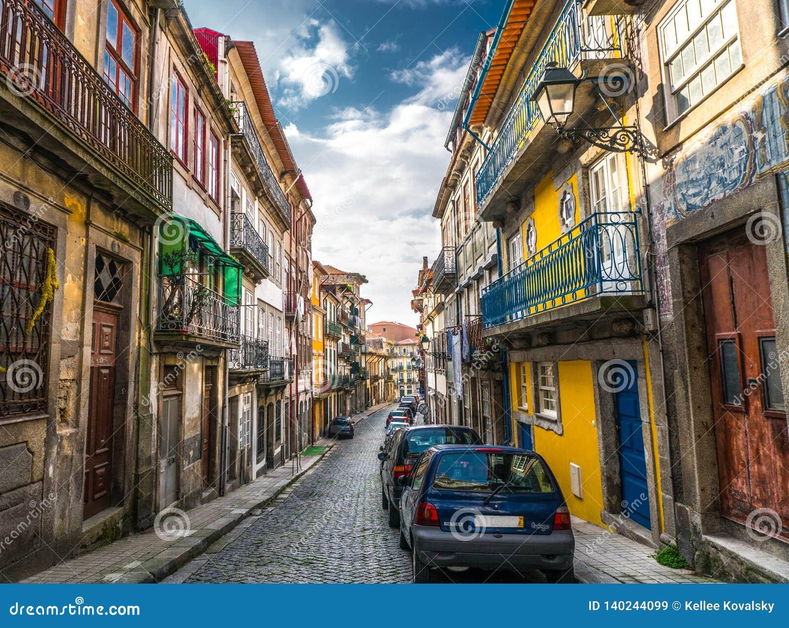 Unique bright and colorful alley in Porto Portugal.