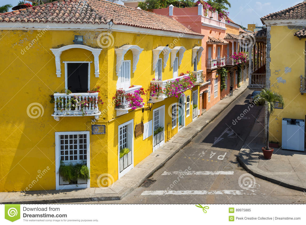 Colorful buildings in a street of the old city of Cartagena Cartagena de Indias in Colombia