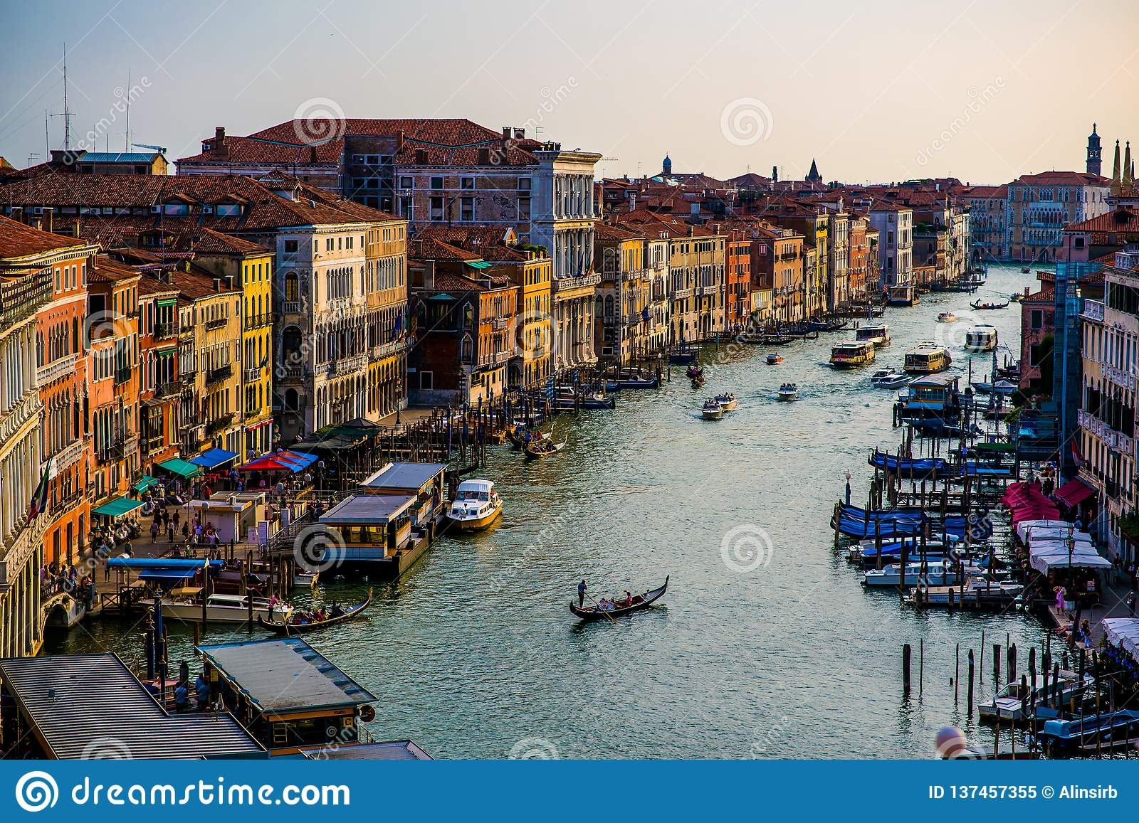 Colorful buildings in Venice before sunset