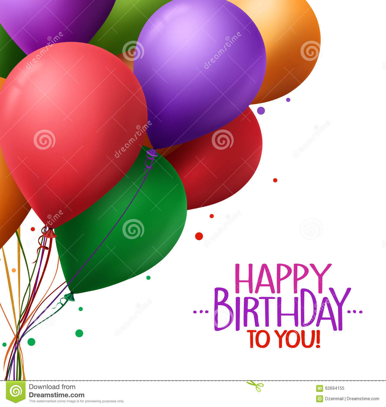 Colorful Bunch Of Happy Birthday Greetings With Vector Balloons