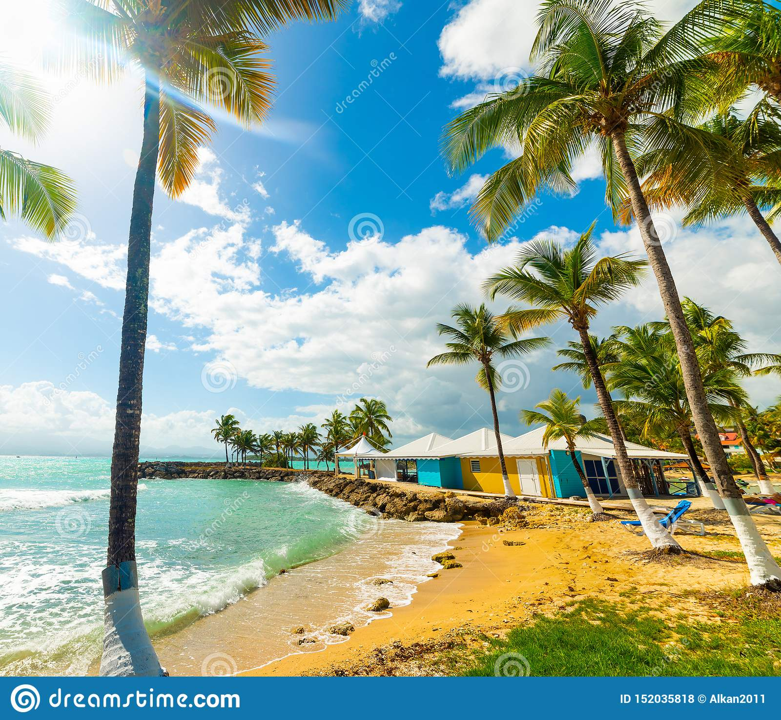 Guadeloupe Beach: Colorful Bungalows In Bas Du Fort Beach In Guadeloupe