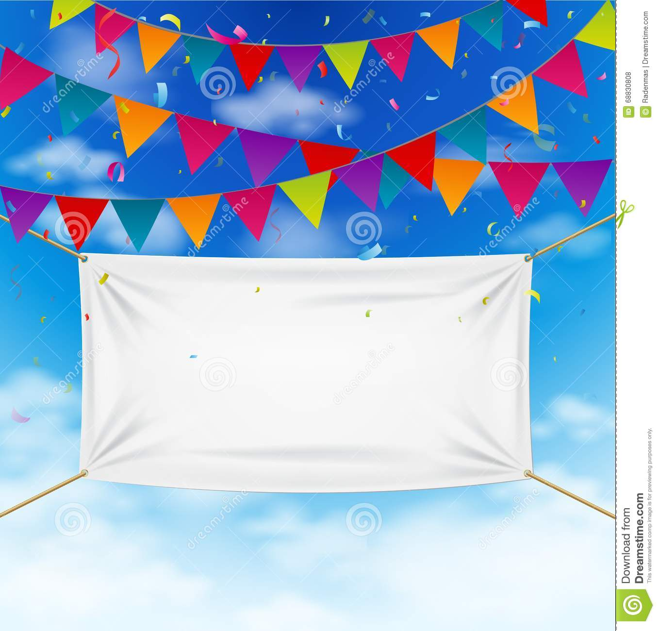 colorful bunting flags with textile banner stock vector