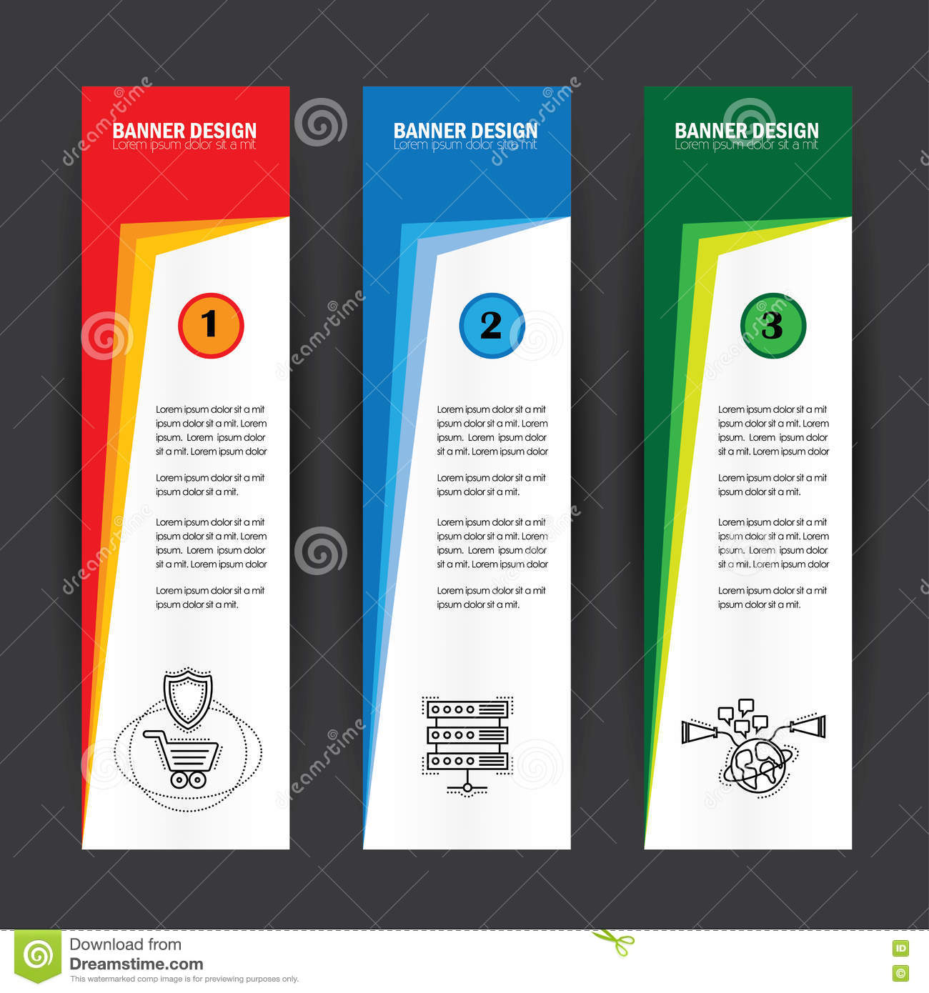 Colorful business banners flat design vertical template vector s