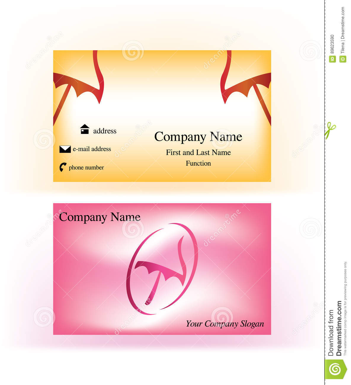 Beach Theme Card Stock: Colorful Business Cards With Umbrella Logo Symbol Stock