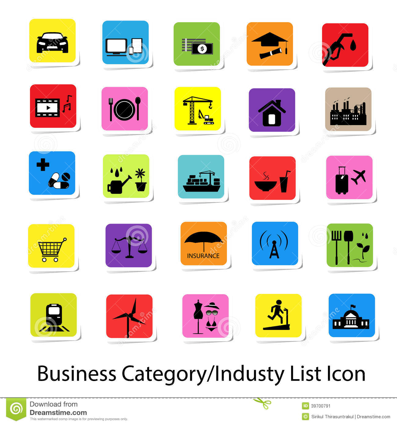 Category: Colorful Business Category And Industry List Icon Stock