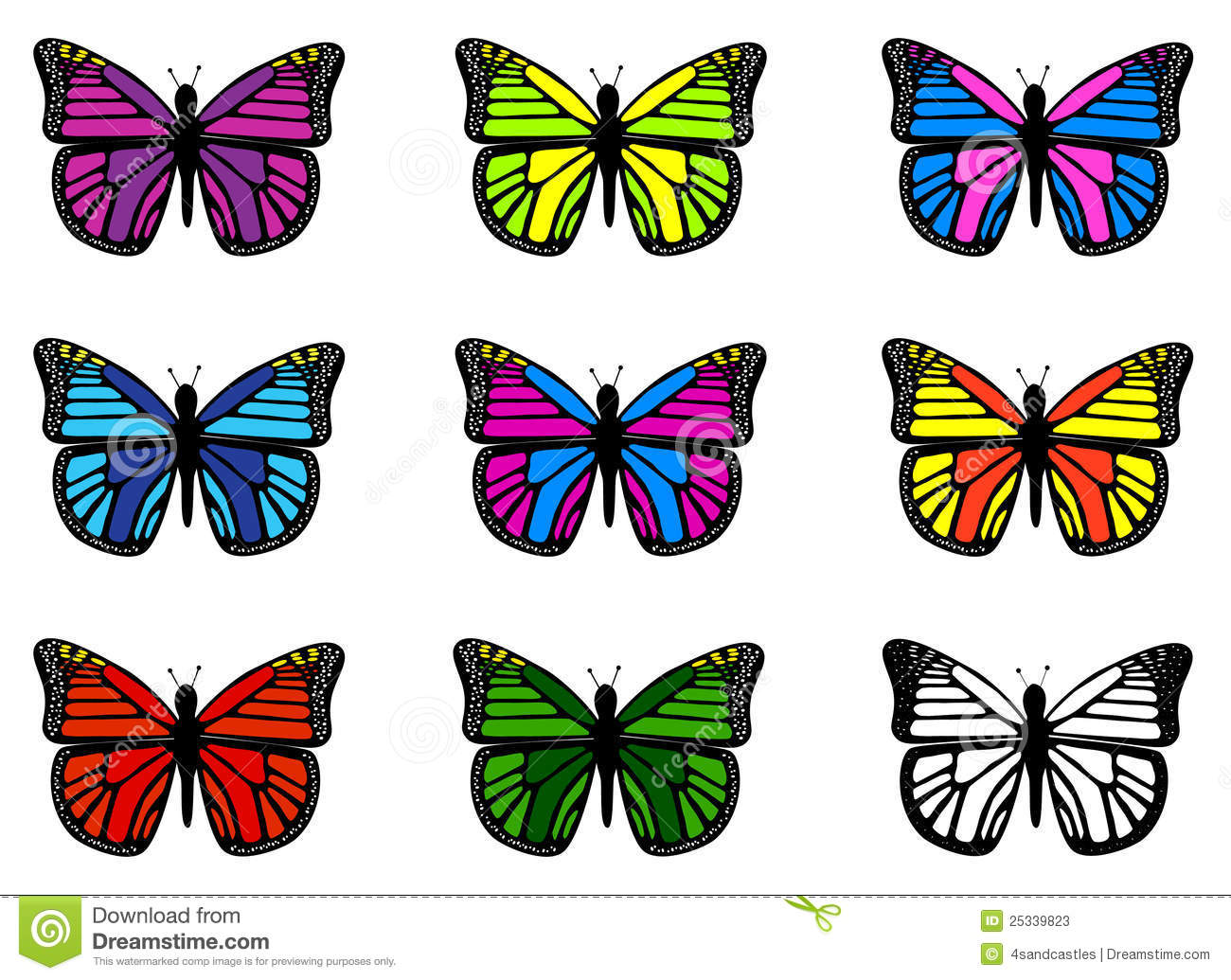 Colorful Butterflies Stock Vector Illustration Of Vector 25339823