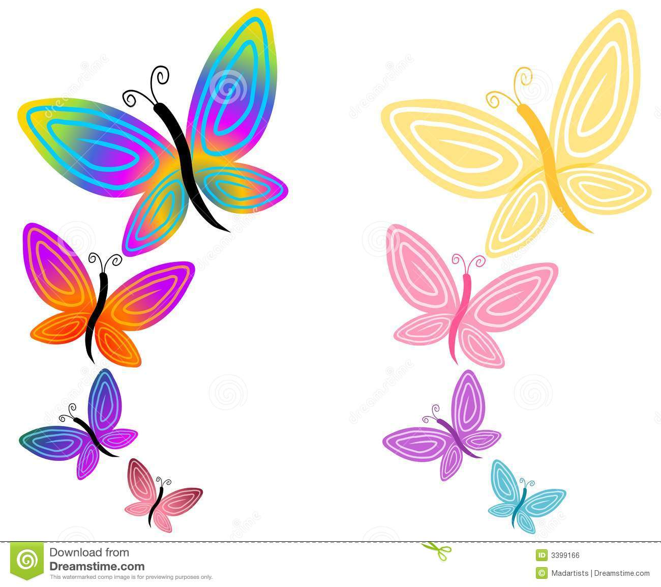 colorful butterflies isolated stock illustration illustration of rh dreamstime com butterfly free clipart pictures free butterfly clipart images