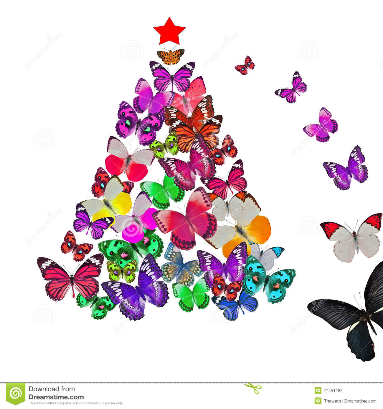 Colorful Butterfly Christmas Card Stock Photos - Image: 27451183