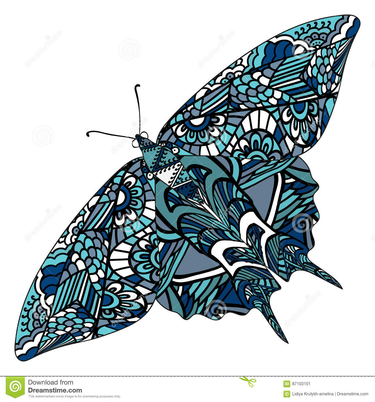 Colorful Butterfly With Ethnic Doodle Pattern  Zentangle