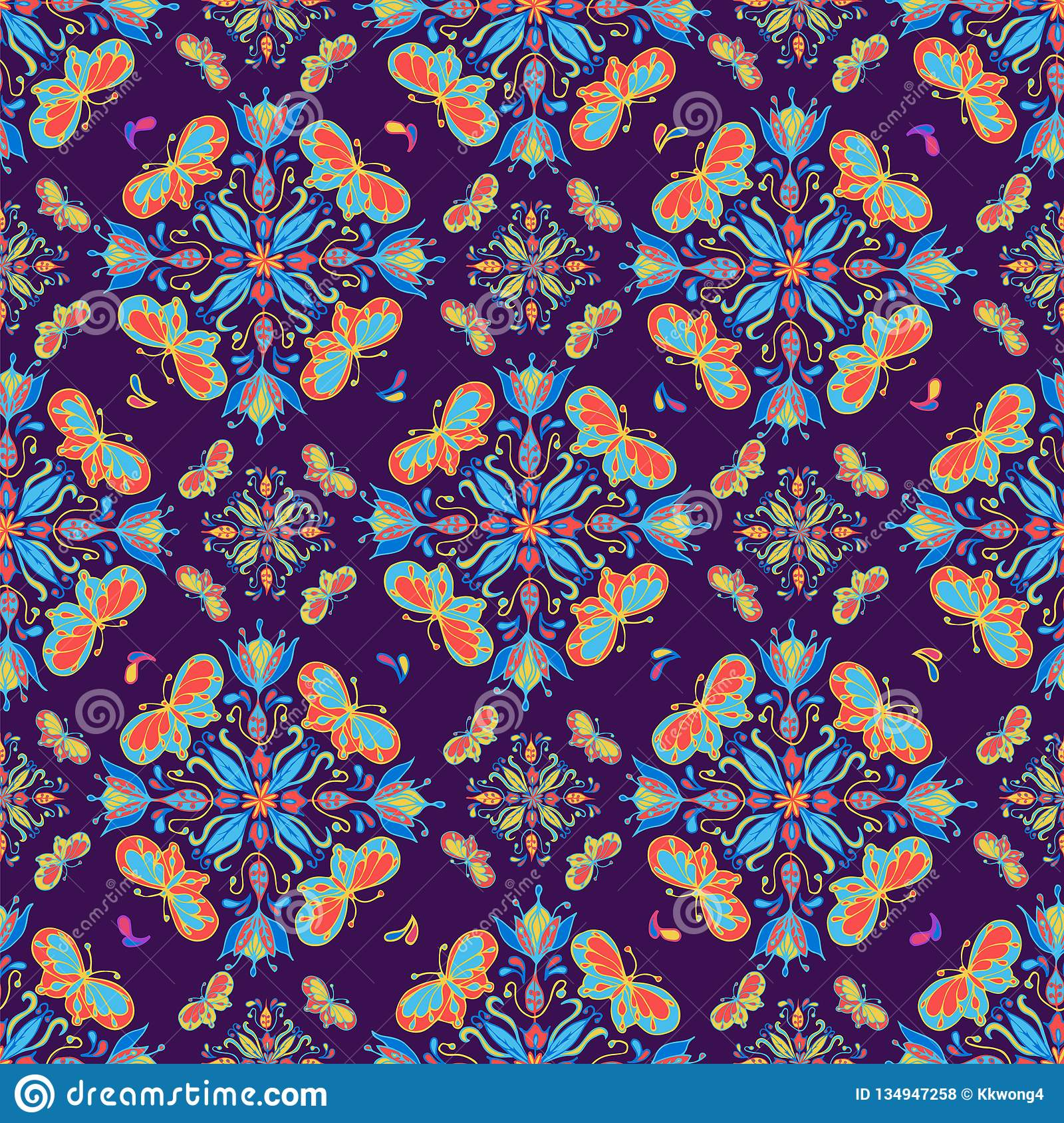 Colorful Butterfly Mandala Pattern On Purple Tile Stock