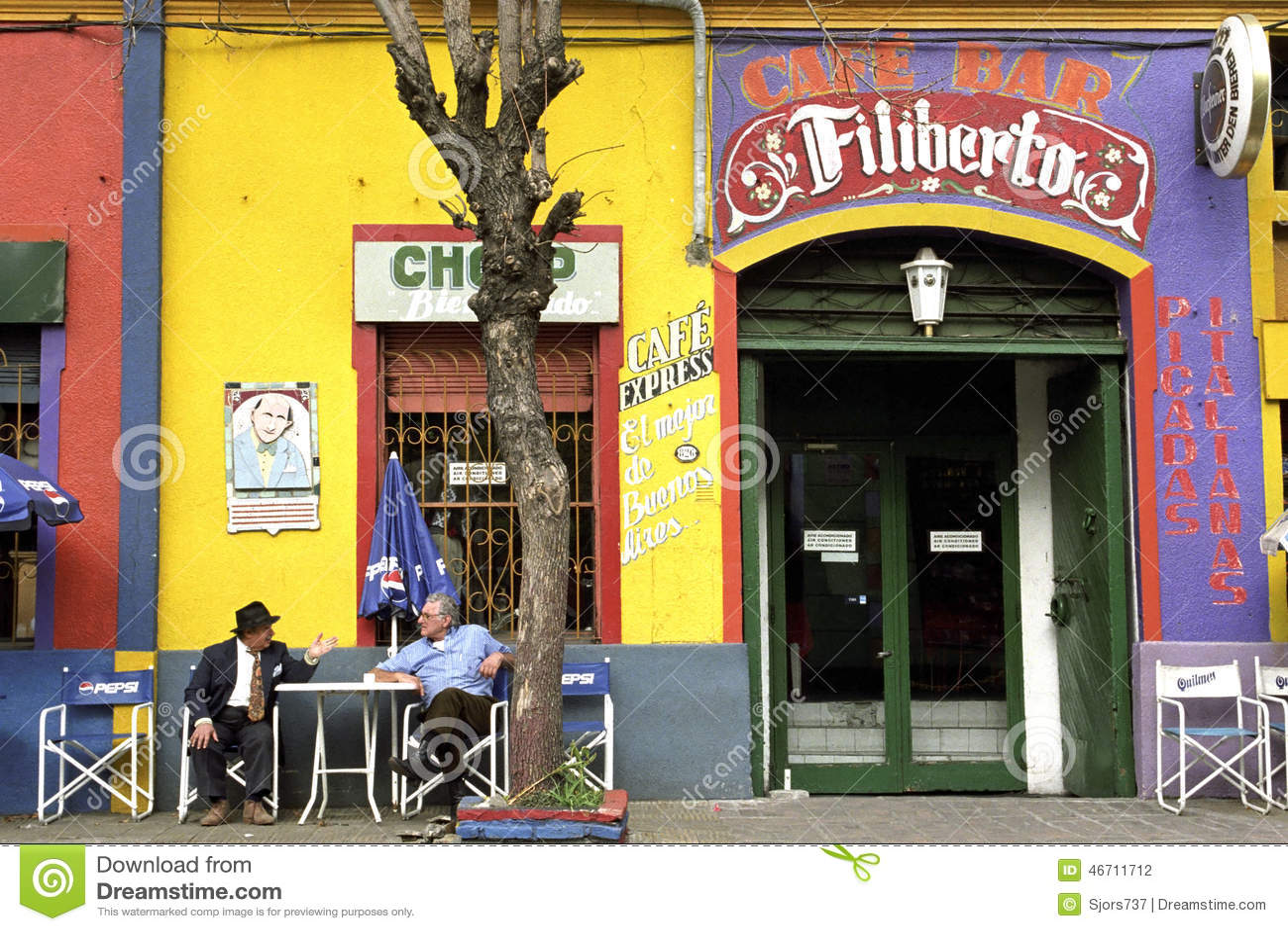 Colorful cafe in resort town La Boca, Buenos Aires