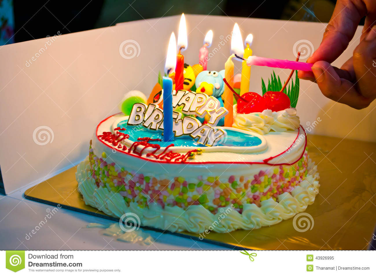 Colorful Cakes At Birthday Party Stock Image Image Of Candle
