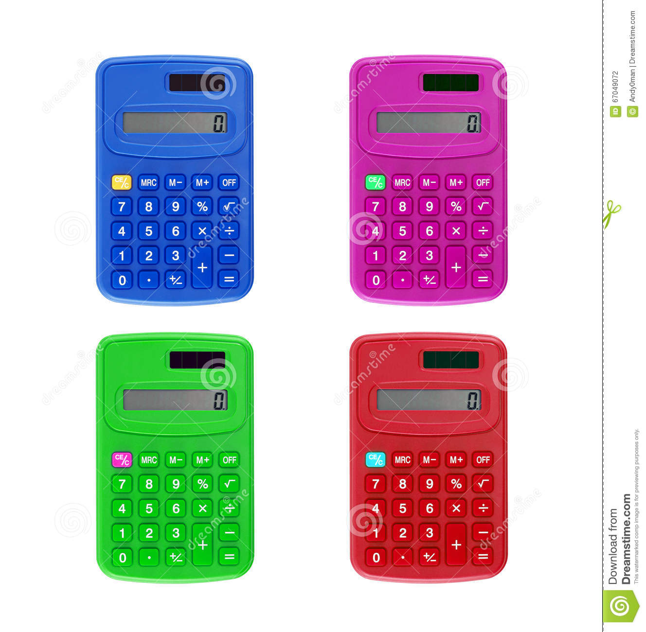 Colorful Small Plastic Calculator With Zero Numbers On ...