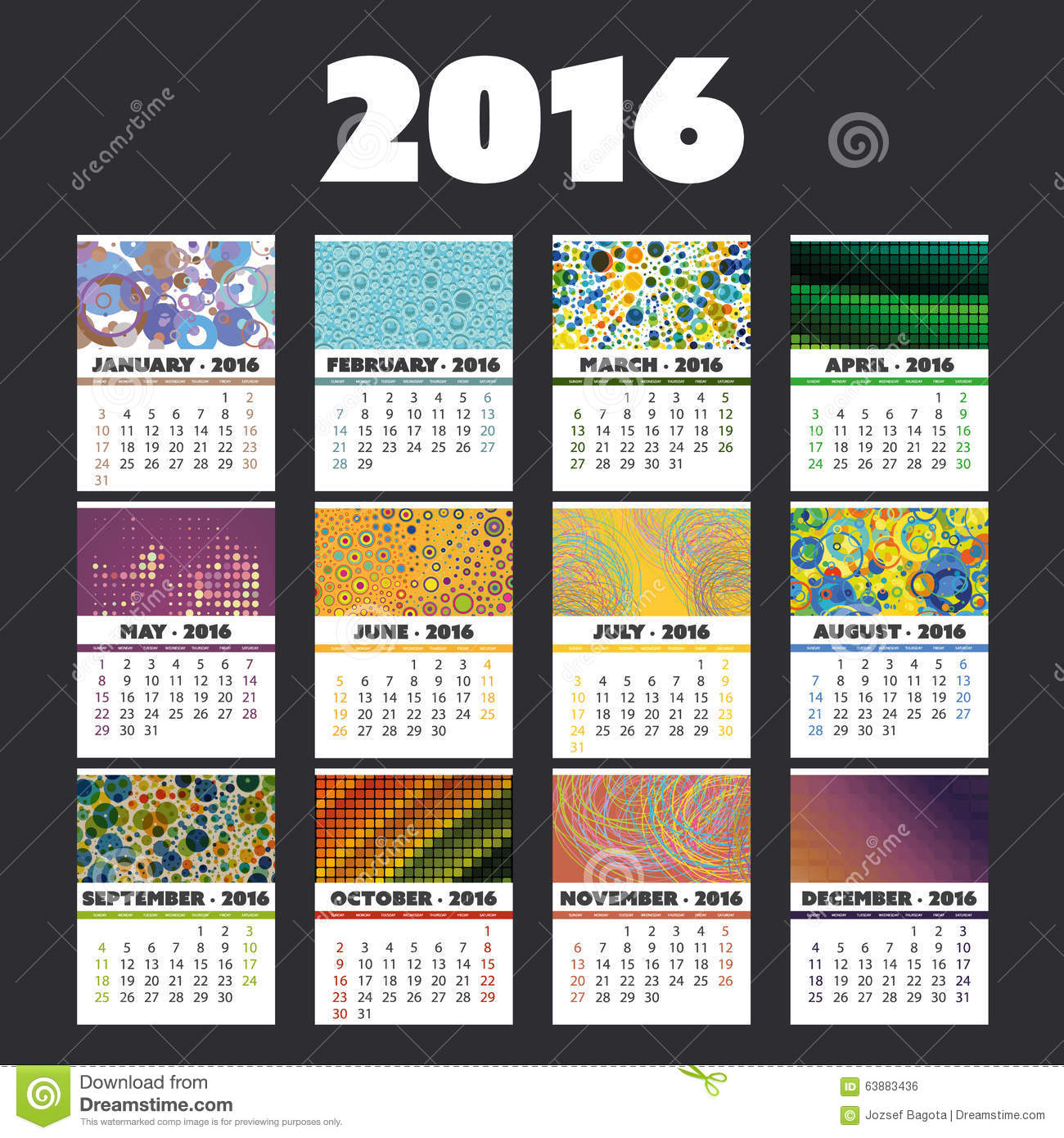 Monthly Calendar Design Creative : Colorful calendar card design set for year with
