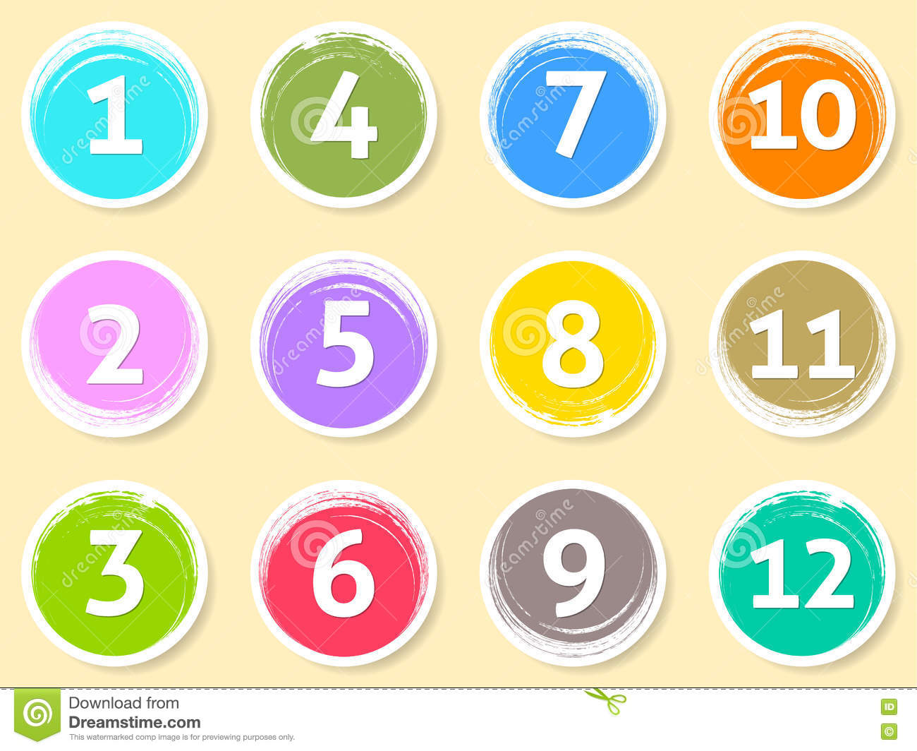 Colorful Calendar Circle Labels Month Numbers Stock Vector