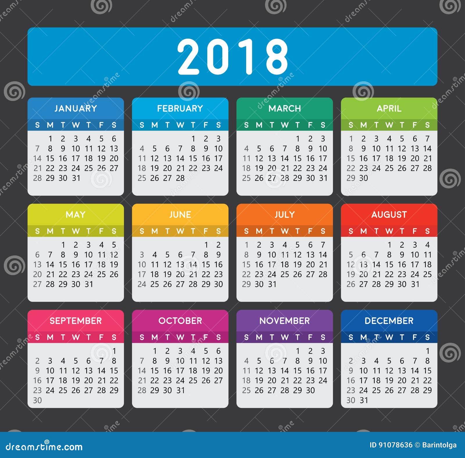 Calendar Typography Template : Colorful calendar on dark background stock vector
