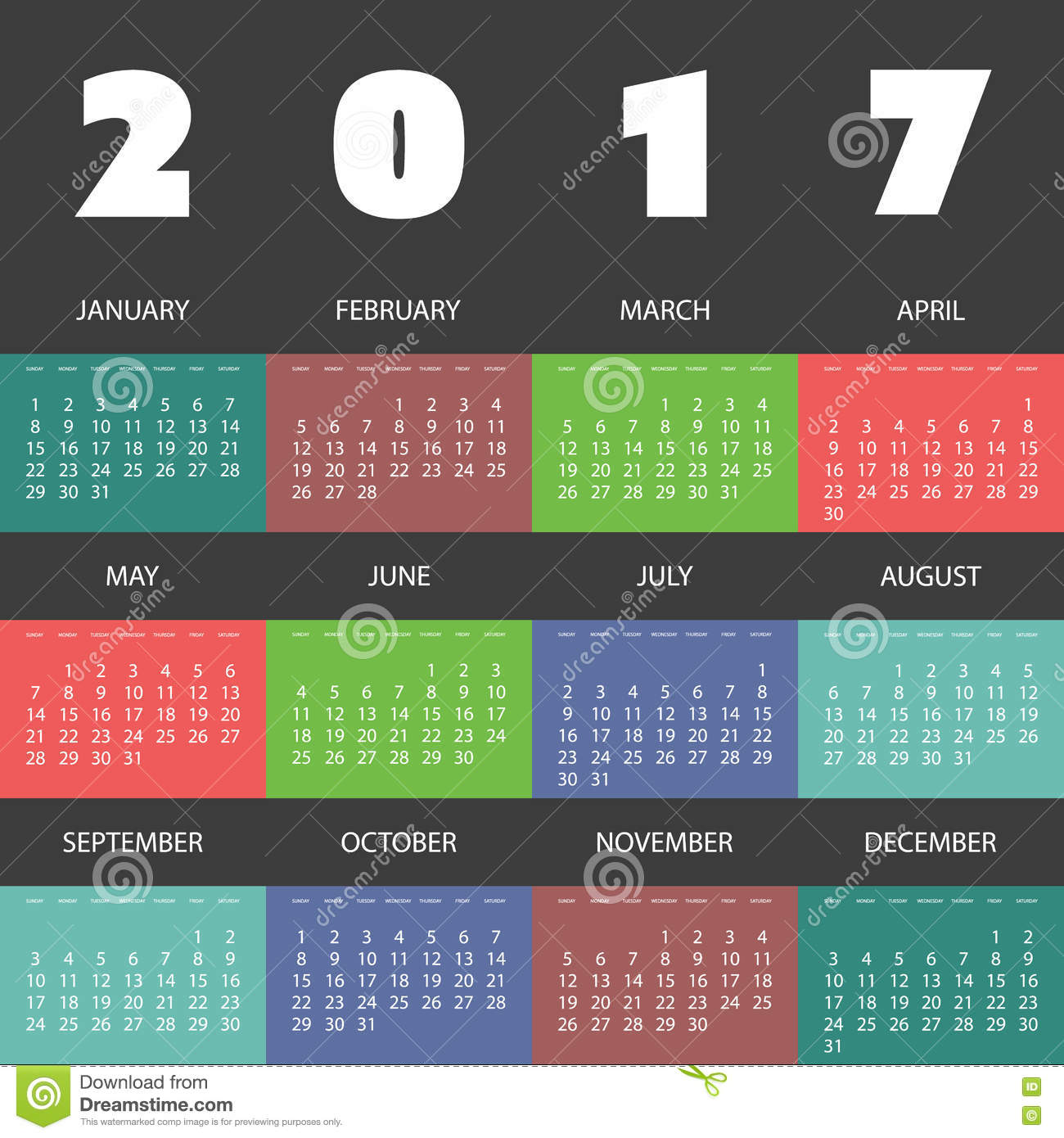 Monthly Calendar Design Creative : Colorful calendar design with different backgrounds