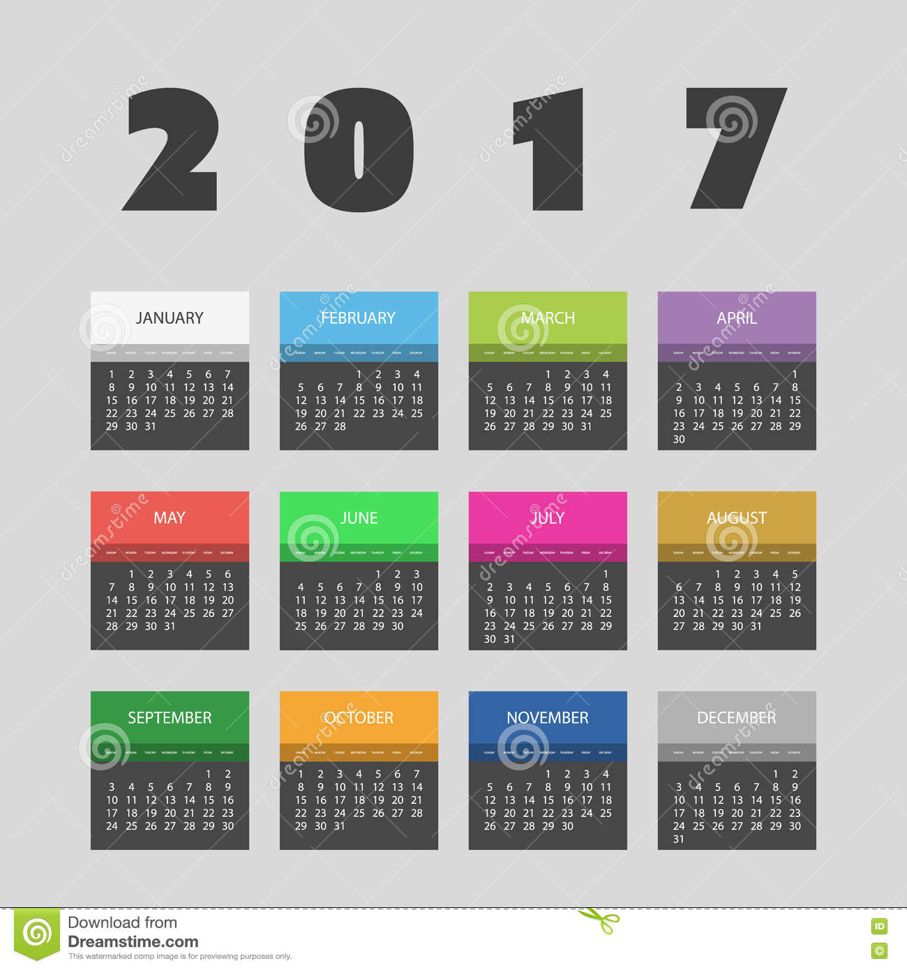 Monthly Calendar Design Creative : Colorful calendar design with different colors for