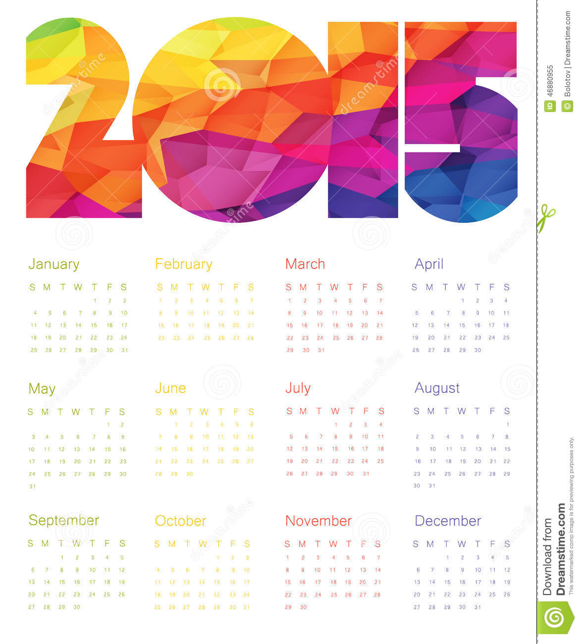 Illustration Calendar Design : Colorful calendar design vector stock