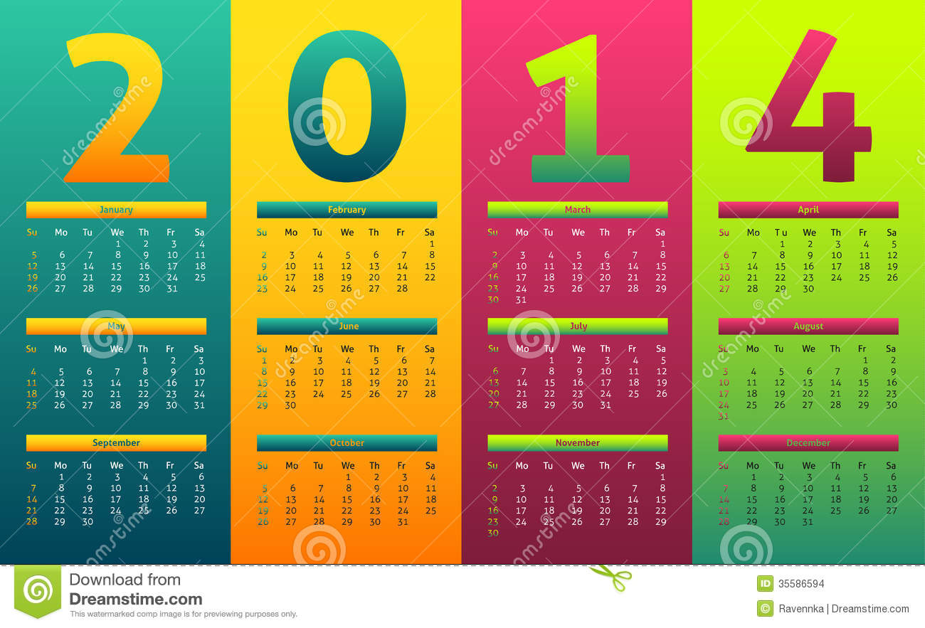 Colorful 2014 Calendar Stock Images - Image: 35586594