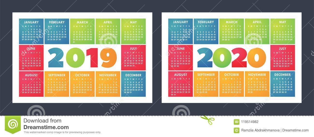 Fun 2020 Calendar Colorful Calendar Set 2019, 2020. Bright, Fun, Cute Stock