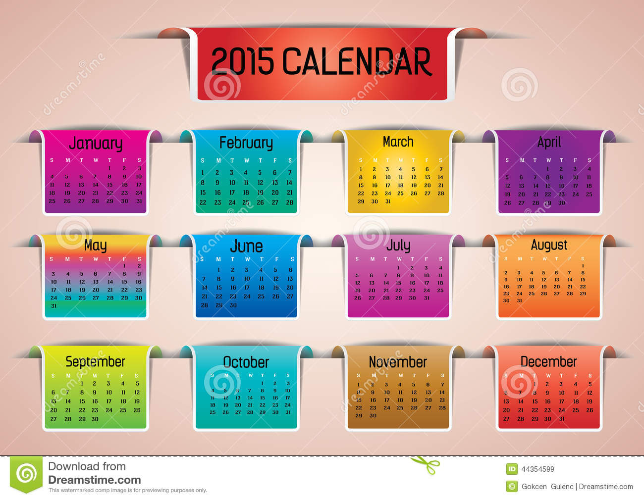 Calendar Photo Ideas For Each Month : Colorful calendar stock vector image