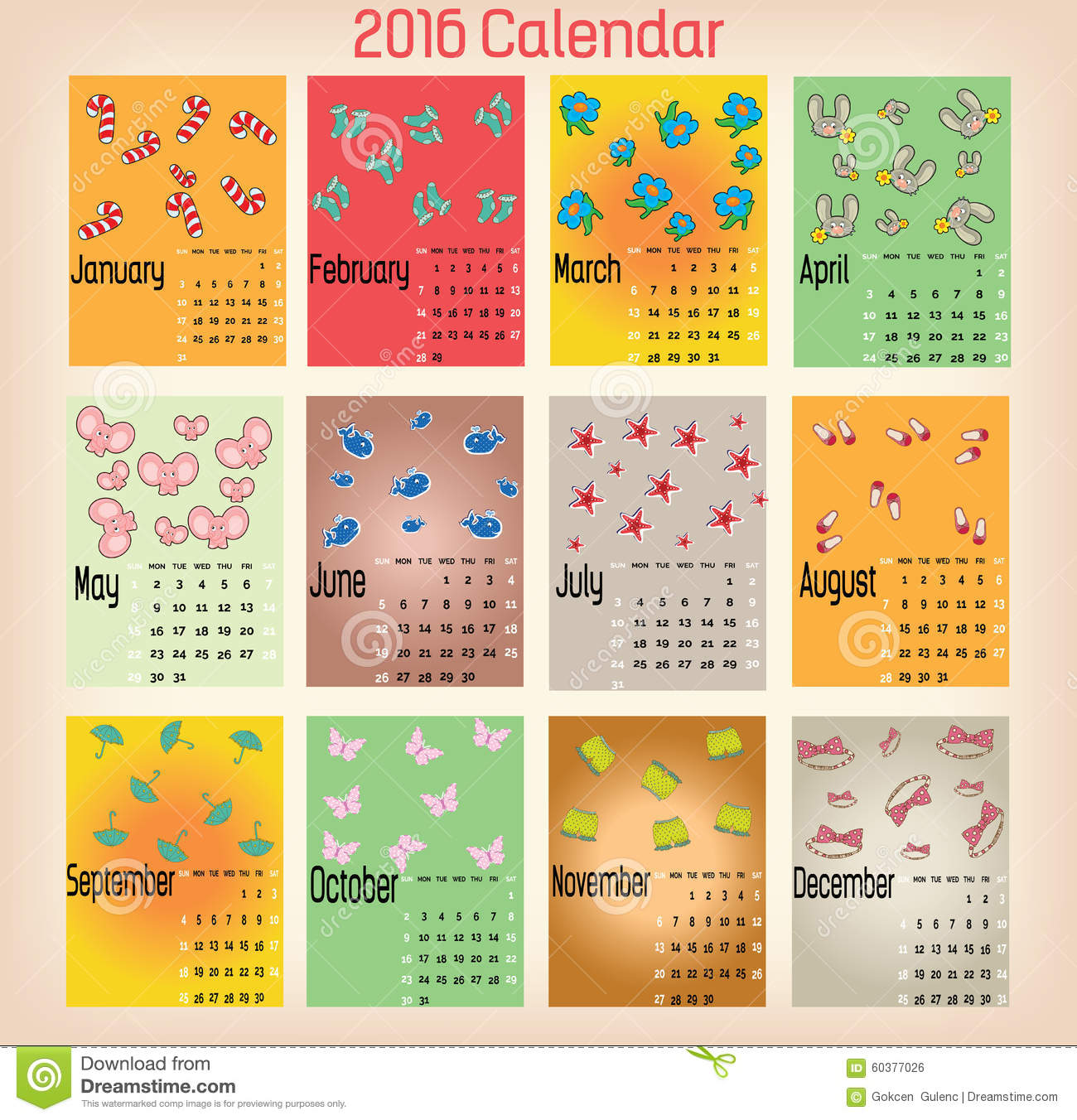 Calendar Design Date : Colorful calendar stock vector illustration of date