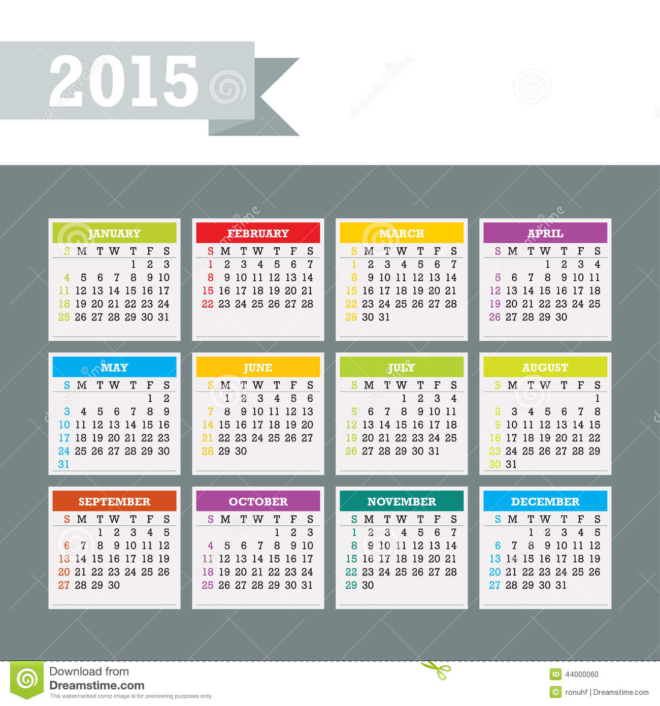 Weekly Calendar Vector : Colorful calendar vector stock image