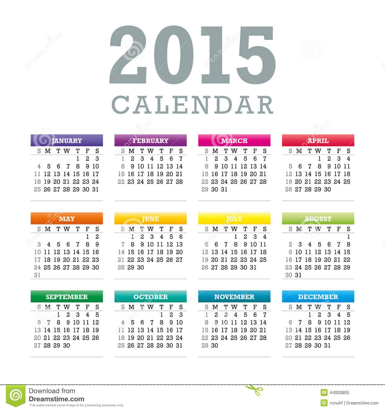 Weekly Calendar Vector : Colorful calendar vector stock illustration