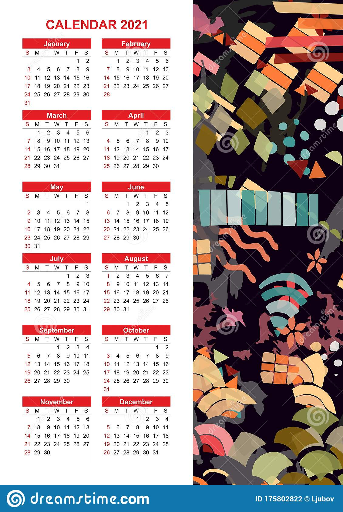 Colorful Calendar For 2021 Year With Abstract Print ...