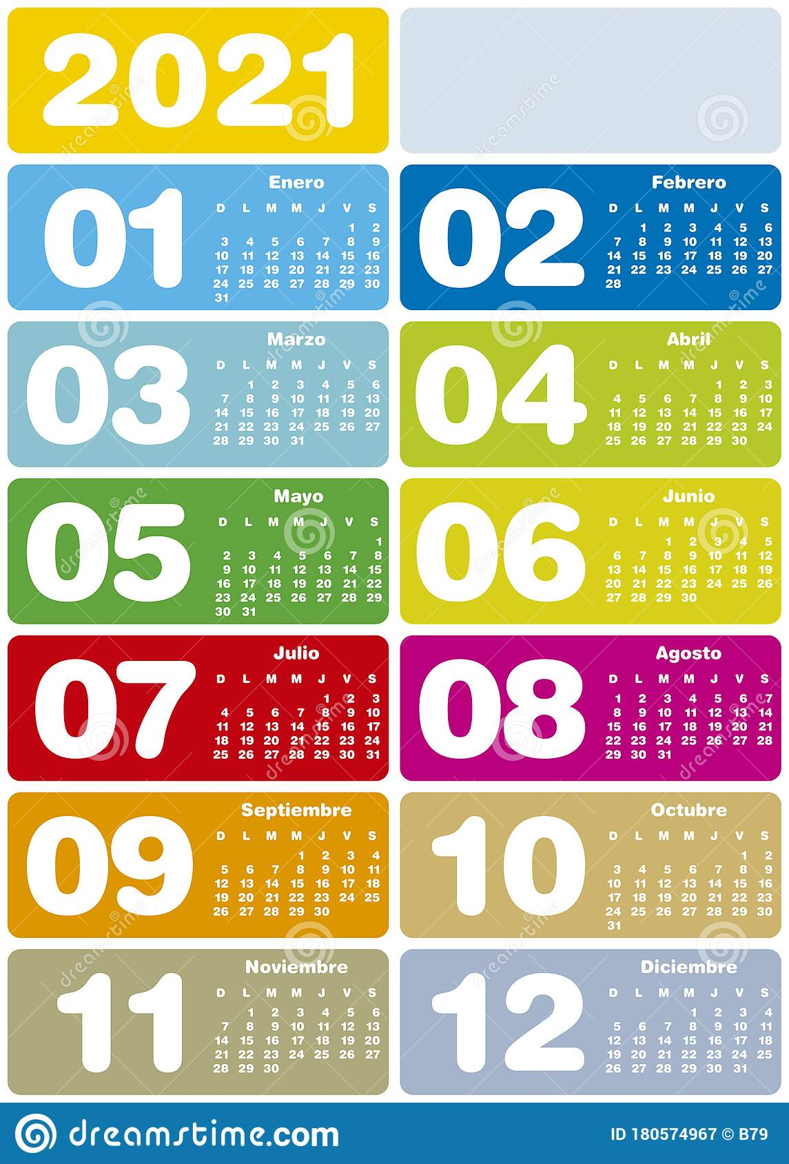 Colorful Calendar For Year 2021, Spanish Language Stock ...