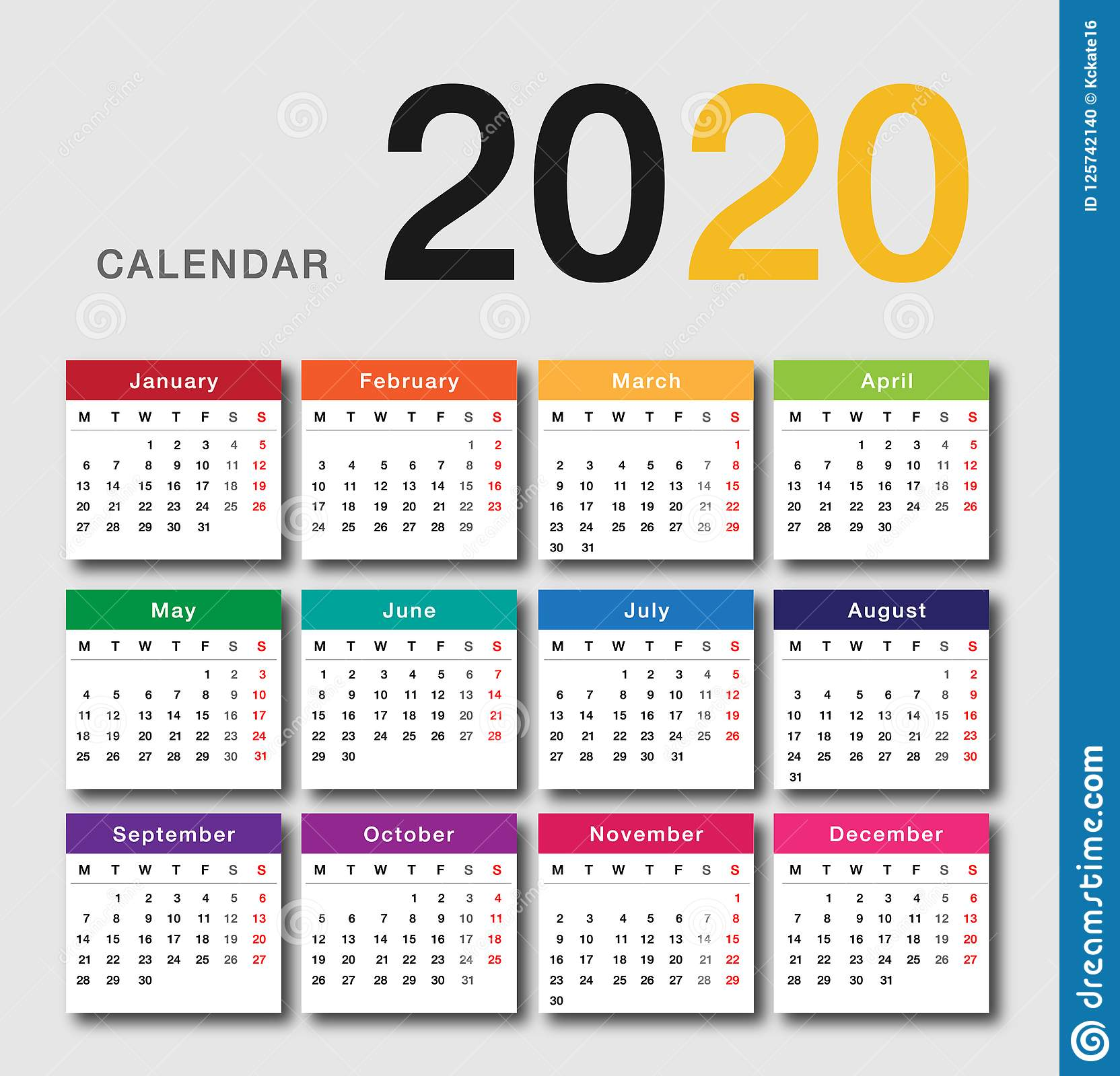 colorful calendar year 2020 vector design template simple and clean