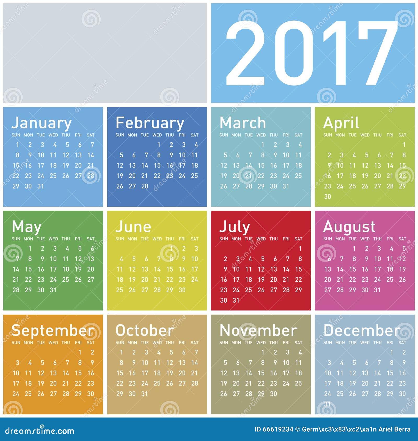 colorful calendar for year 2017 in vector format mr no pr no 3 733 6