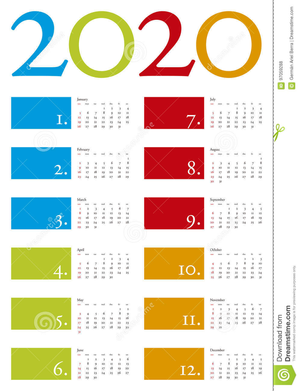 Colorful Calendar for year 2020 in vector format