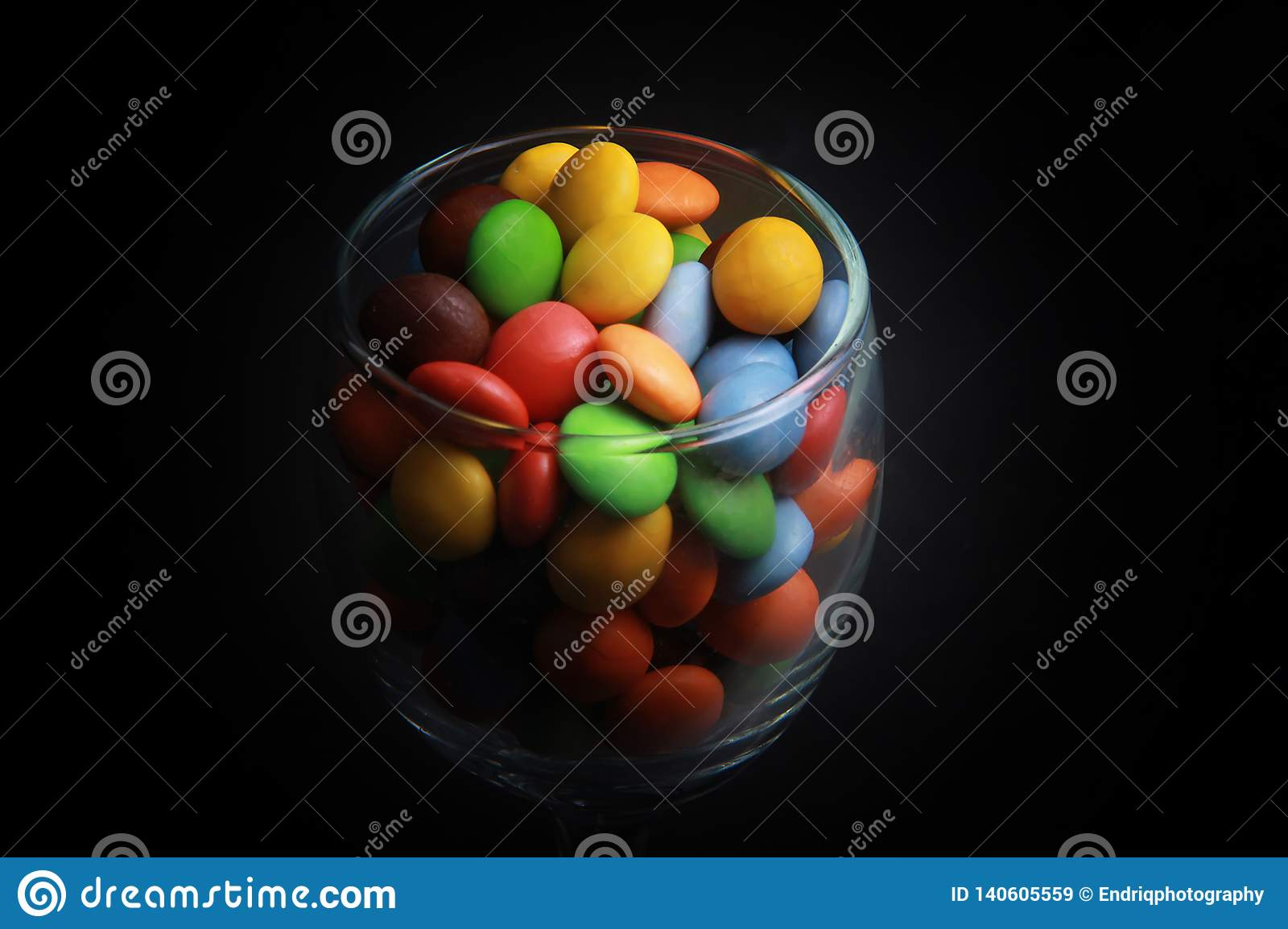 Colorful candies in a glass.