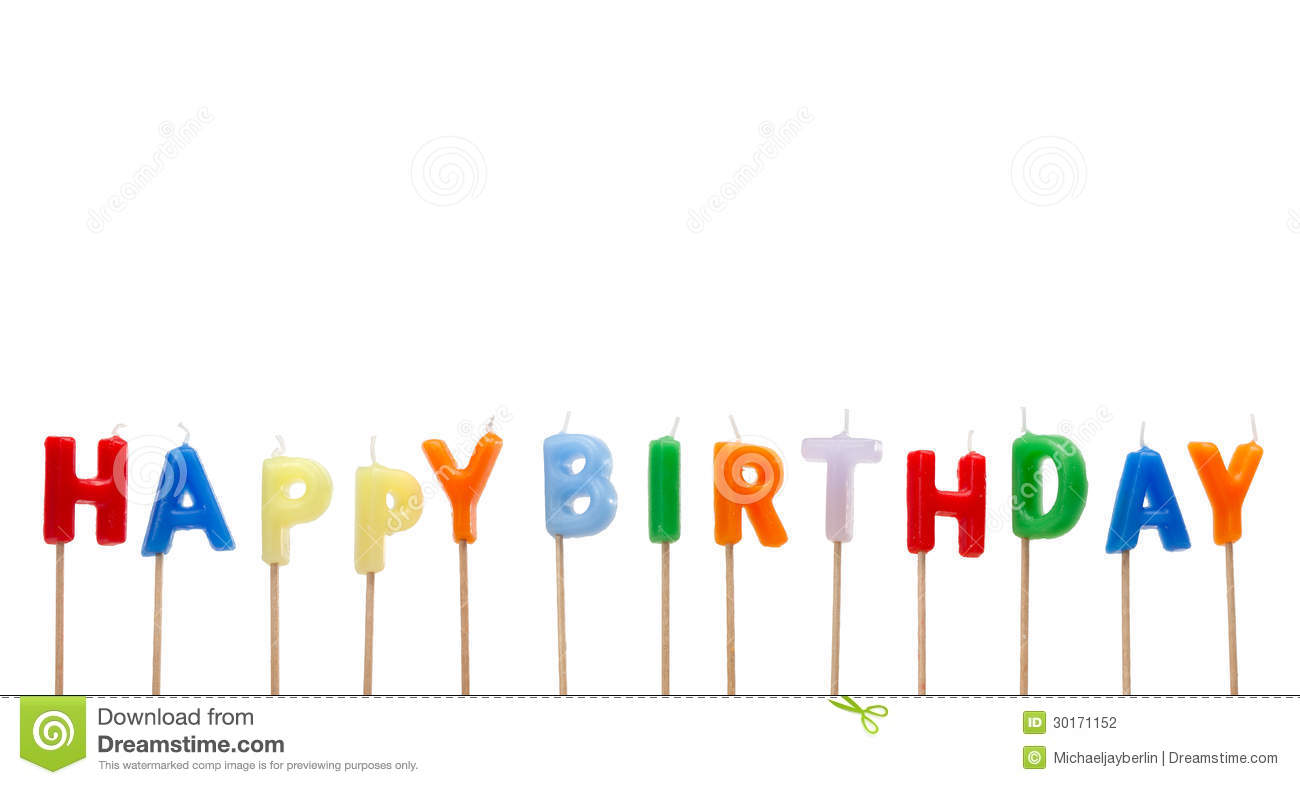 Colorful Happy Birthday Cake Candles In Letters Saying Isolated On