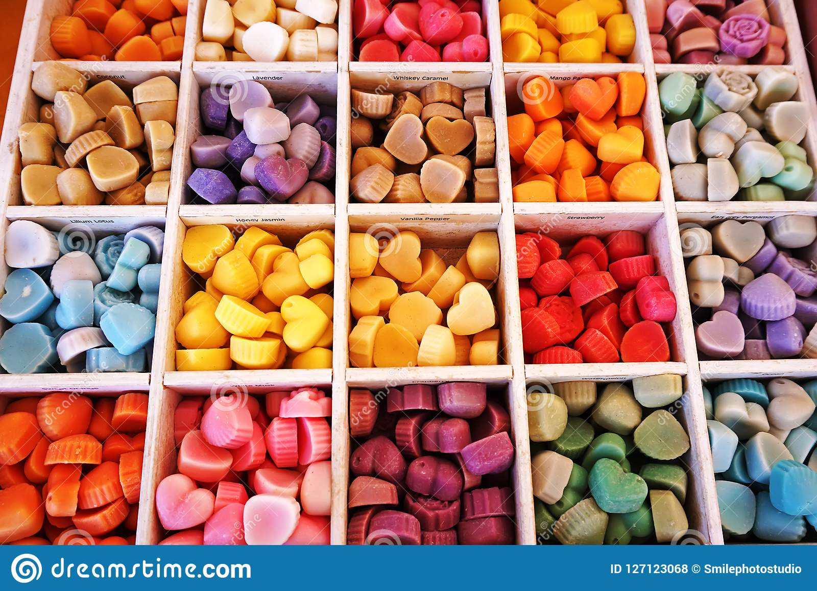 Colorful candy in a box