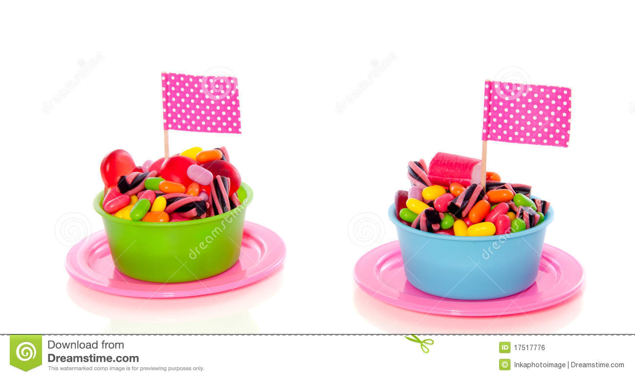 Colorful candy in cups