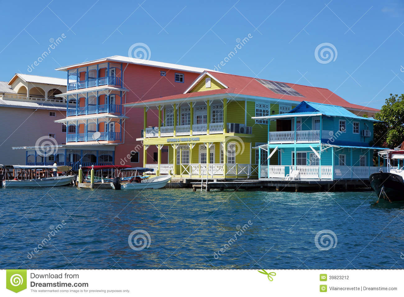 colorful caribbean houses over water boats dock colon island bocas del toro panama 39823212