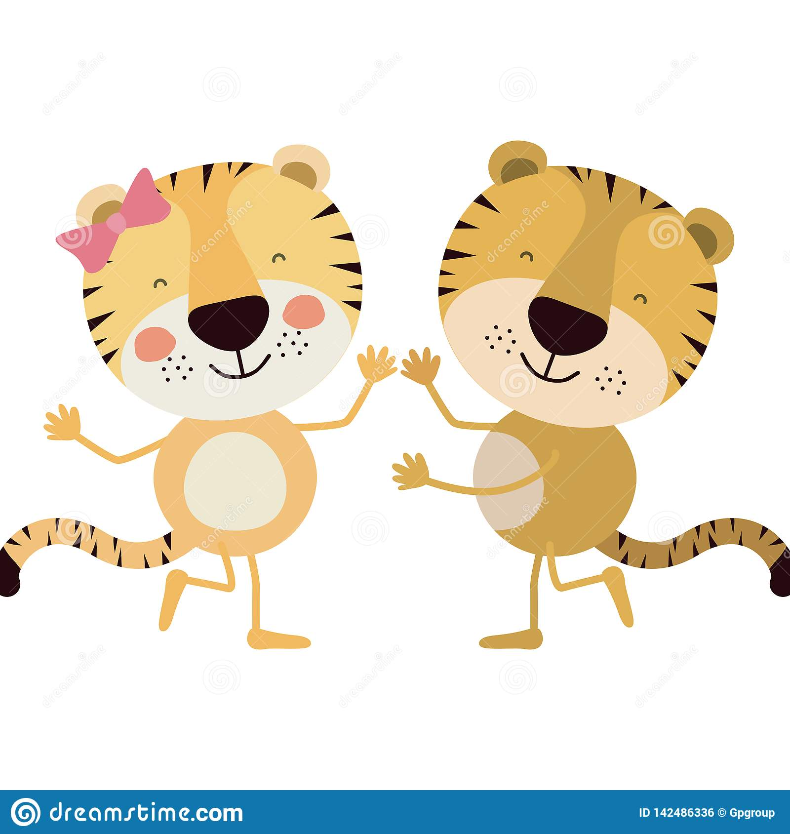 Colorful caricature with couple of tigers dancing