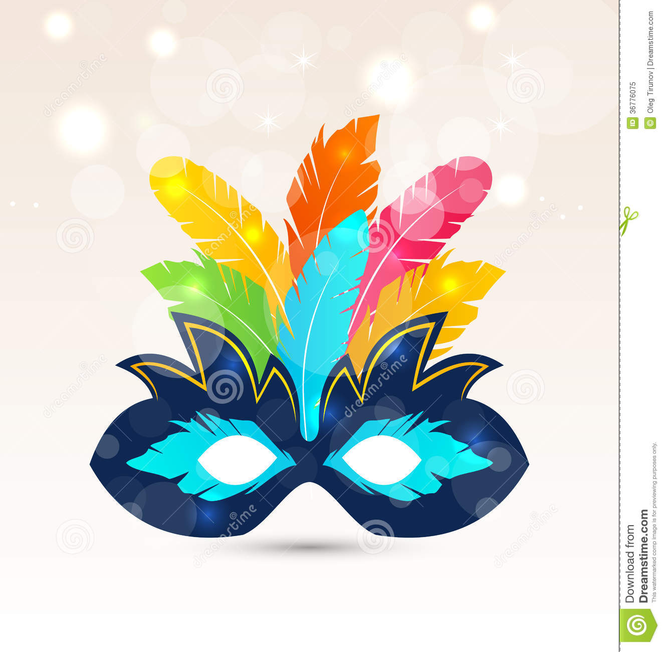 Colorful Carnival Or Theater Mask With Feathers Royalty