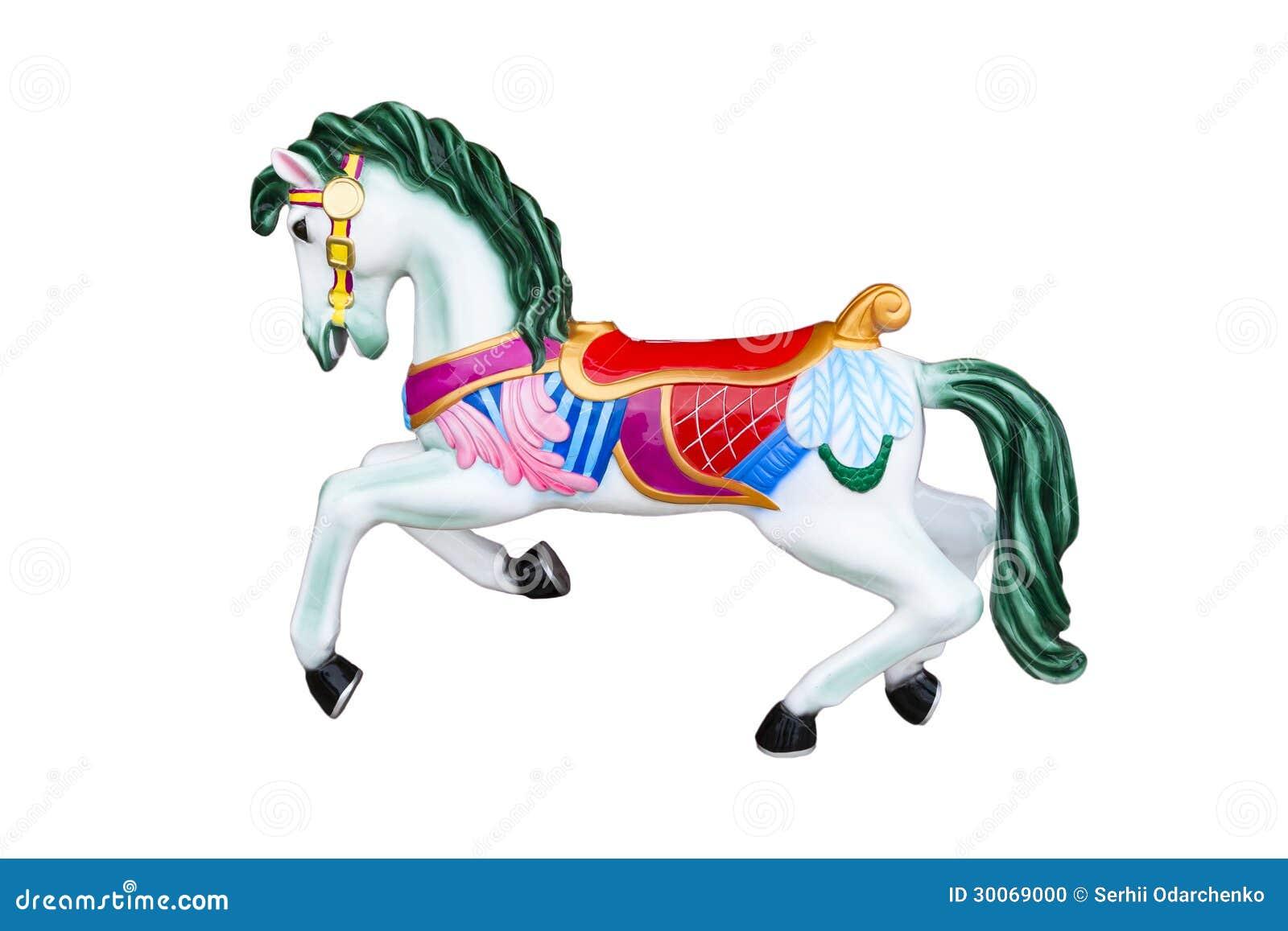 Carousel Horse Isolated On White Stock Photo