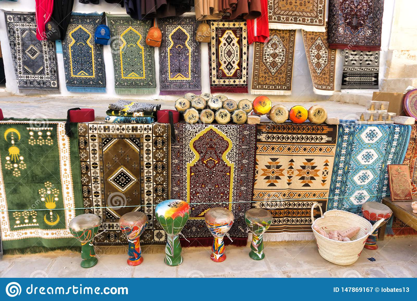 Colorful Carpets for Sale in Kairouan, Tunisia