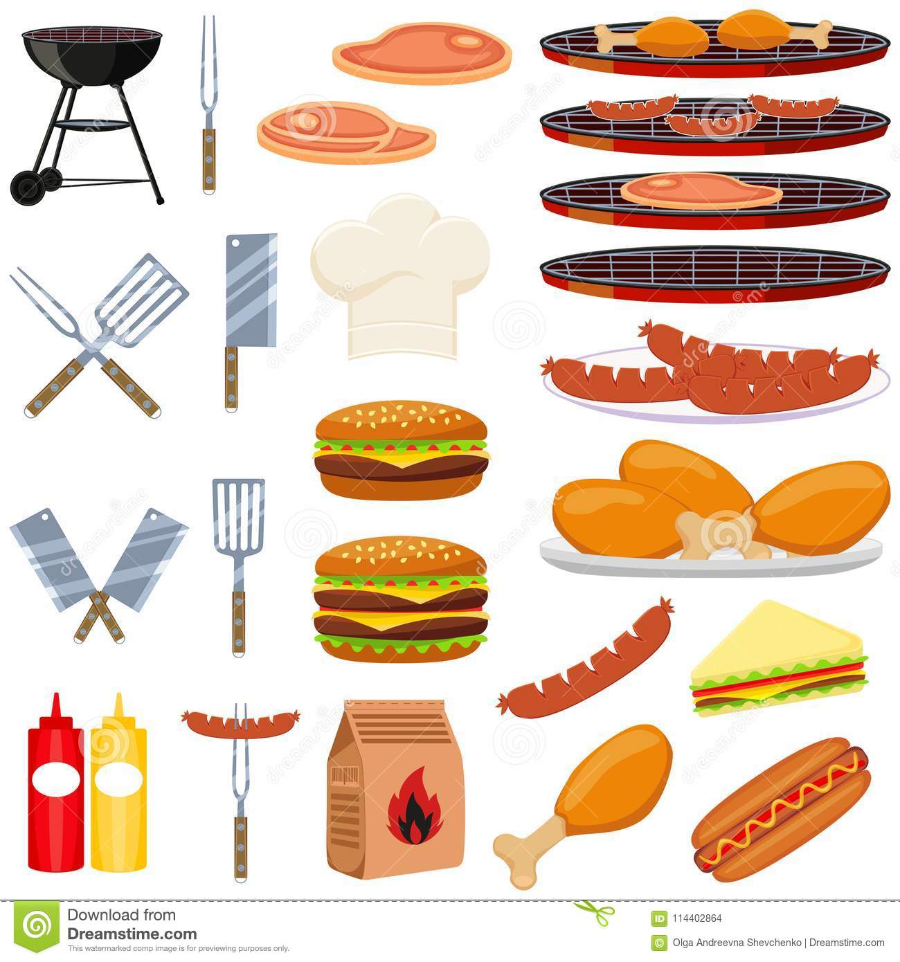 Colorful cartoon bbq outdoors 23 element set