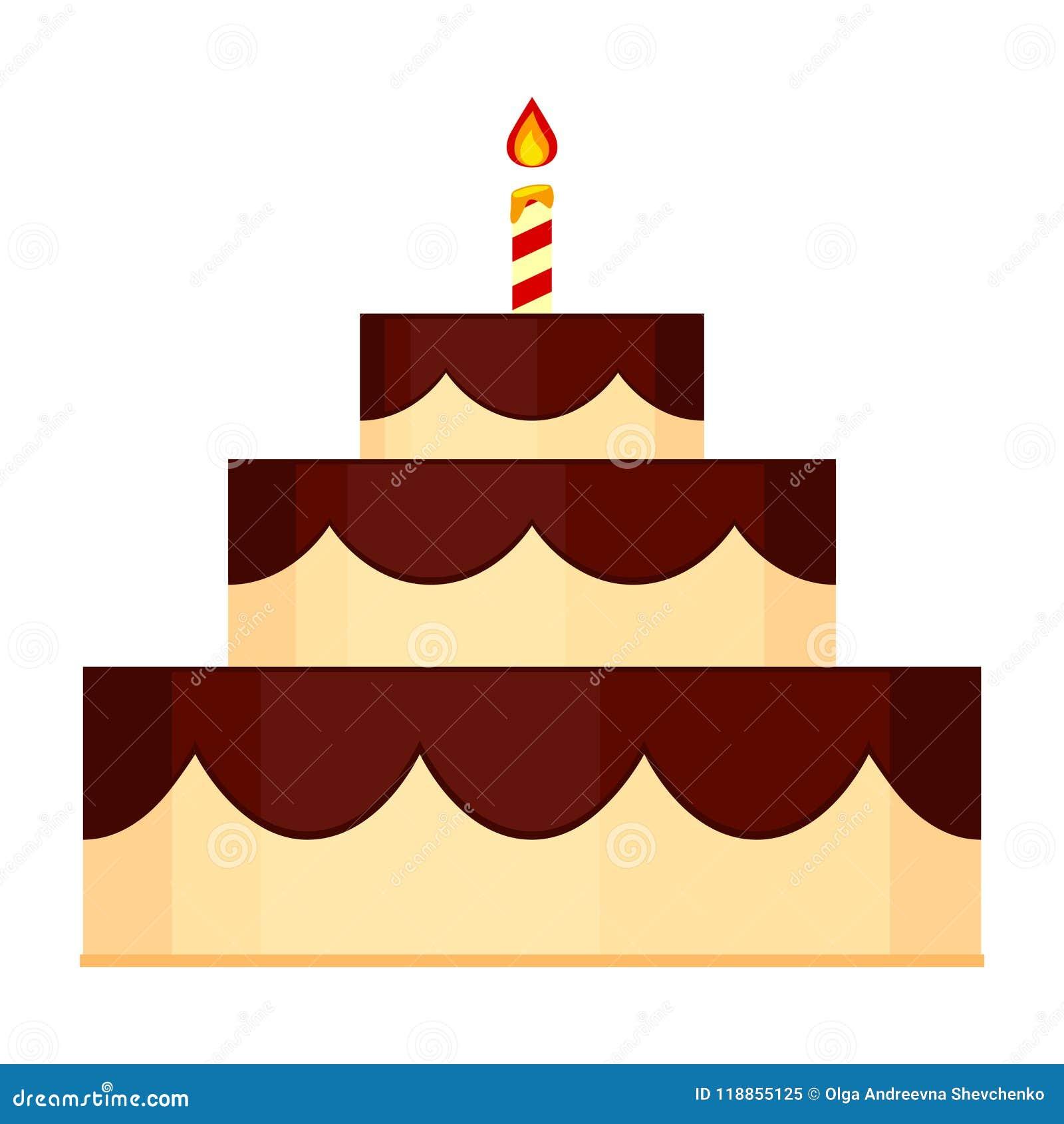 Colorful Cartoon Birthday Layered Cake Stock Vector - Illustration ...