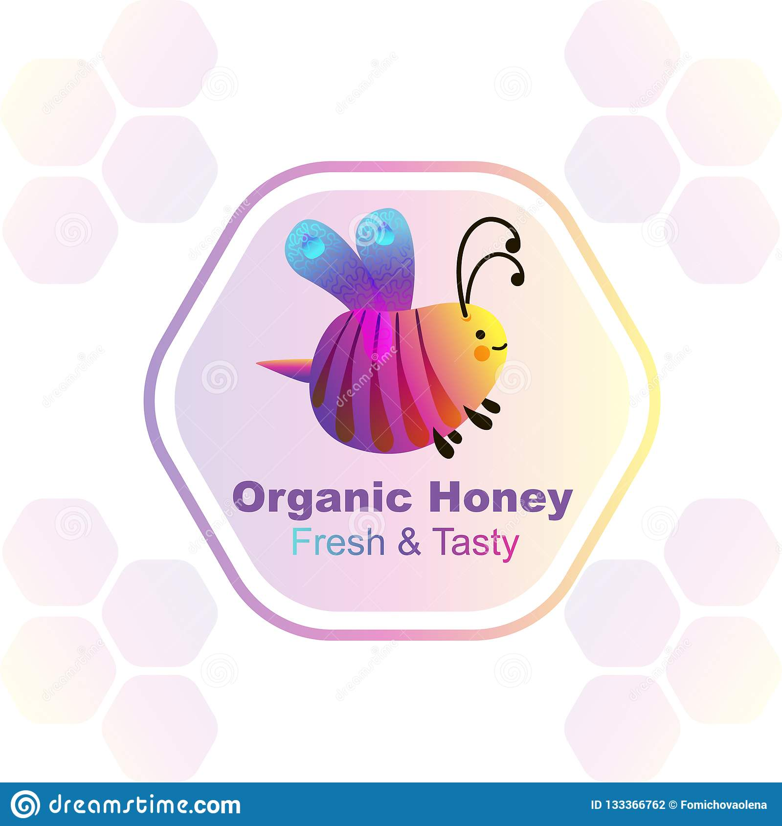 Colorful cartoon bright little bee logo. Smile and happy insect. Fluid geometric abstract shape